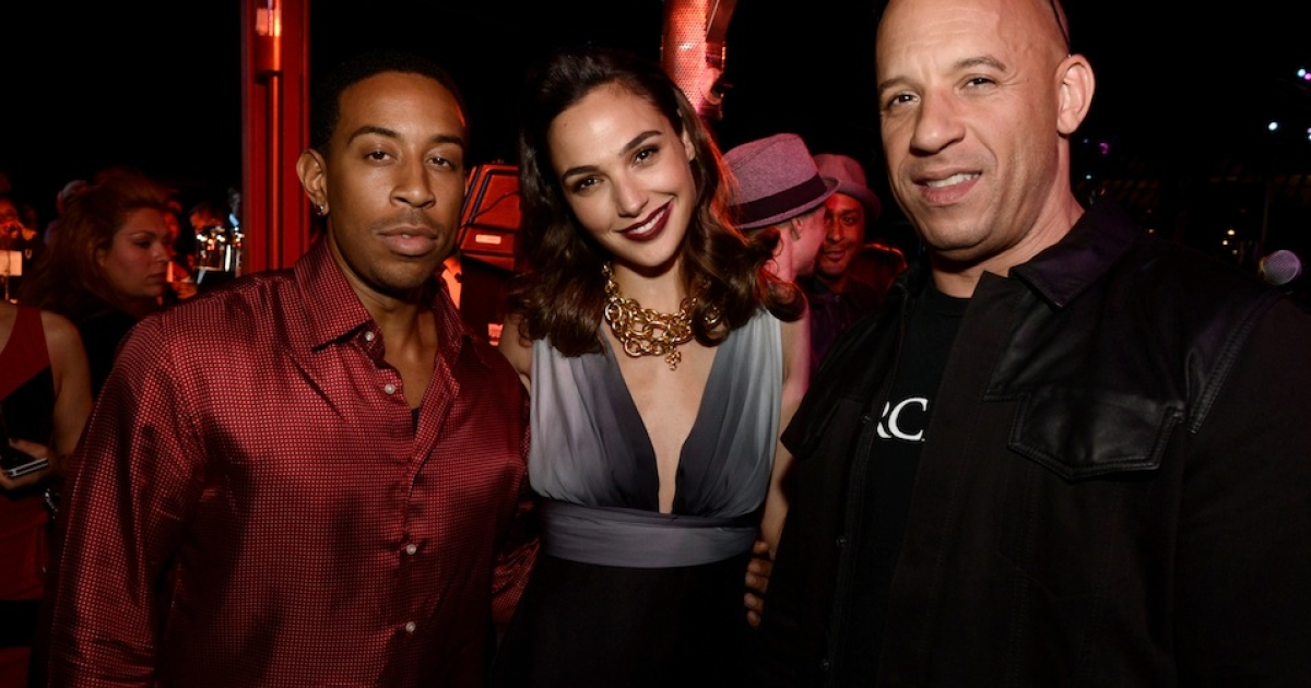 UNIVERSAL CITY, CA - MAY 21: (L-R) Actor/rapper Chris 'Ludacris' Bridges, actress Gal Gadot and actor/producer Vin Diesel pose at the after party for the premiere of Universal Pictures'