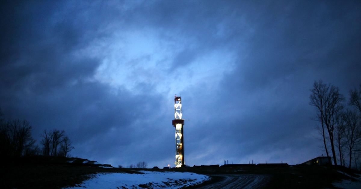 A Cabot Oil and Gas natural gas drill is viewed at a hydraulic fracturing site on Jan. 17, 2012 in Springville, Pa.</p>