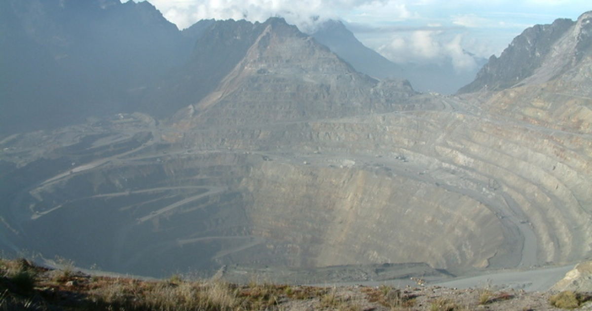 The Grasberg gold and copper mine in the Indonesian province of West Papua.</p>