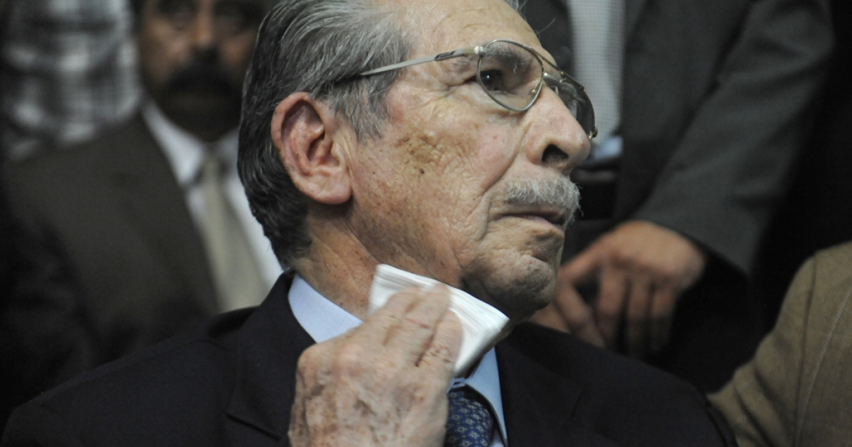 Hot seat: Guatemalan retired Gen. Efrain Rios Montt, 86, sitting in court in Guatemala City before judges found him guilty of genocide and crimes against humanity.</p>