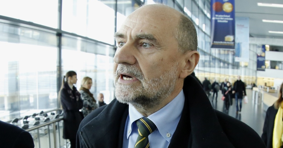 IAEA Deputy Director General Herman Nackaerts talks with journalists before leaving for to Iran on Feb. 12, 2013.</p>