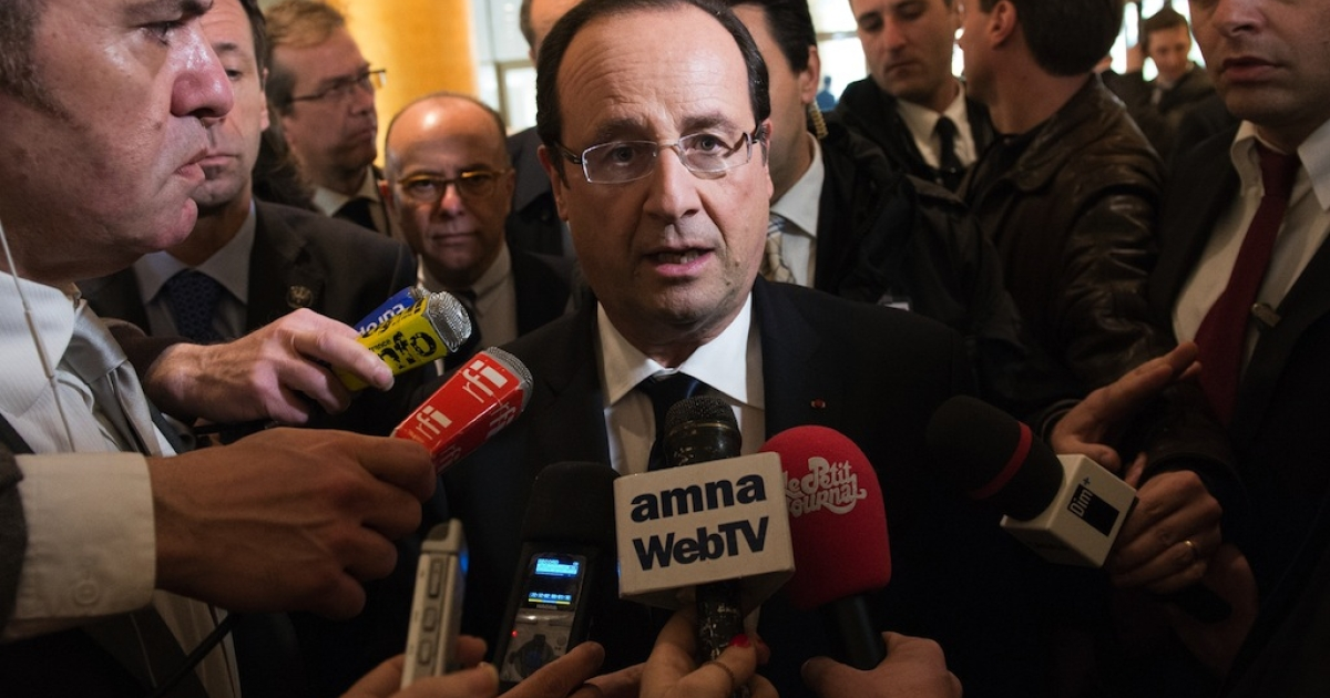 France entered a recession Wednesday after a drop in growth for two consecutive quarters. In this picture, France's President Francois Hollande arrives in Athens on Feb. 19, 2013.</p>