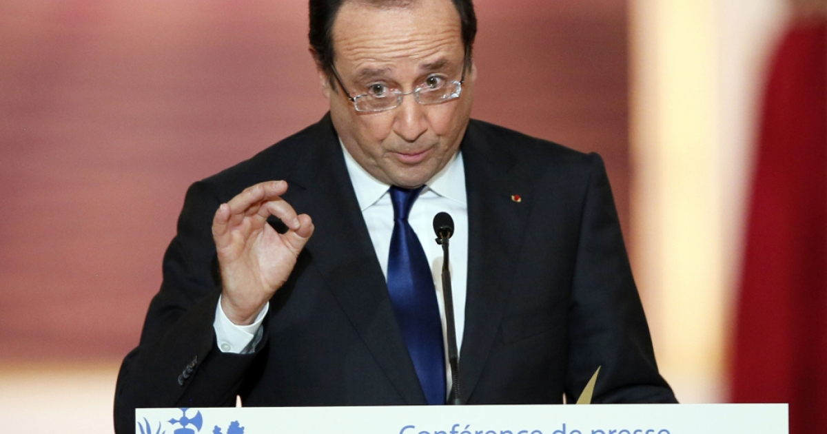 French President Francois Hollande gives a press conference on May 16, 2013 at the Elysee Palace in Paris, a day after his first anniversary in office was marred by news that France had fallen back into recession amid plummeting economic indicators.</p>