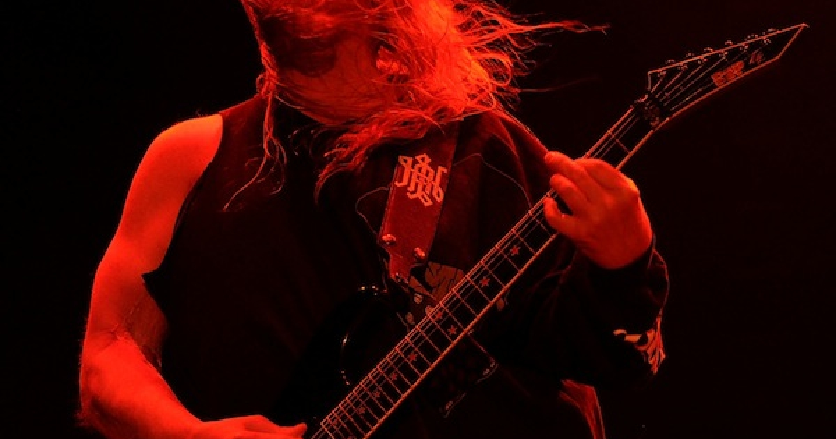Slayer's Jeff Hanneman performs onstage during The Big 4 held at the Empire Polo Club on April 23, 2011 in Indio, California. Hanneman died Thursday of liver failure at the age of 49.</p>