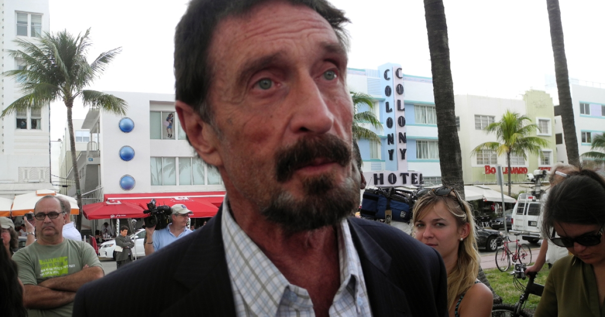 Software company founder John McAfee talks to AFP in front of this hotel in Miami Beach, Florida on Dec.13, 2012.</p>