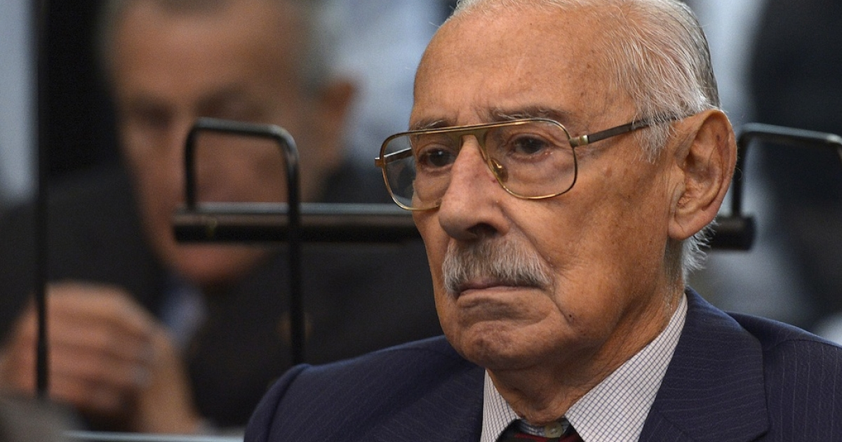 Former Argentine dictator and general, Rafael Videla, is seen during his trial to investigate the crimes committed during Operation Condor, a campaign established by Argentina, Chile, Paraguay, Brazil, Bolivia and Uruguay's dictatorships to quash the opposition during the 1970s, in Buenos Aires on March 5, 2013. Argentina's junta, which Videla led from 1976-81, is held responsible for the disappearance of up to 30,000 people during the so-called 'Dirty War' against political opponents. Videla, Bignone and Menendez are among the 26 defendants. Jorge Rafael Videla passed away in Argentina on May 17, 2013 at the age of 87.</p>