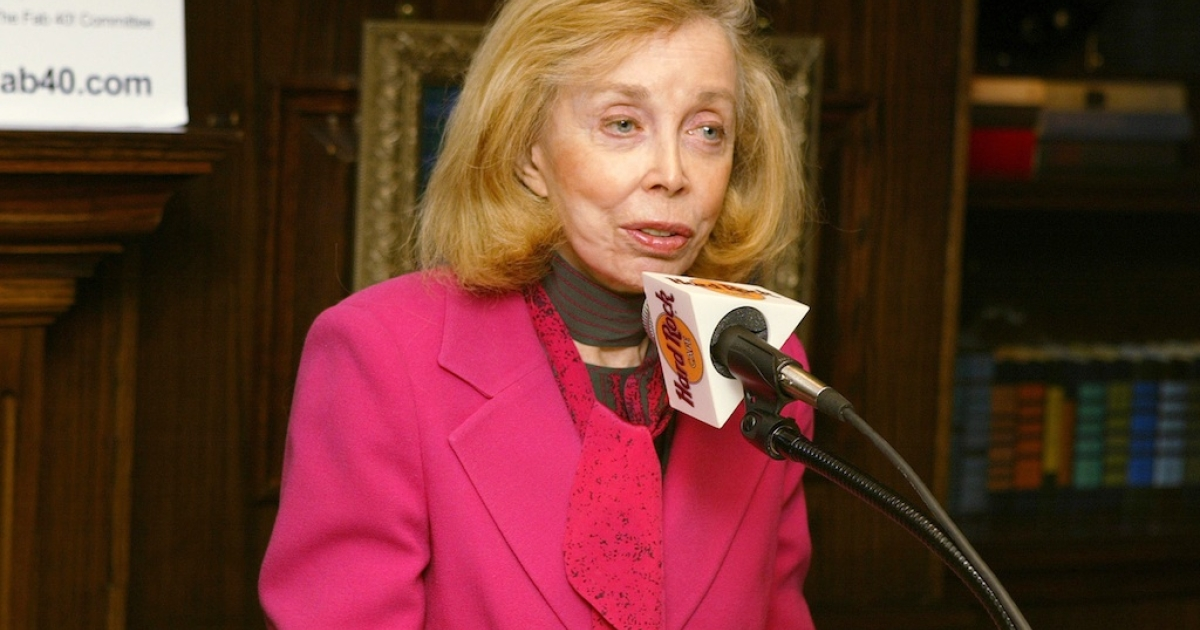 NEW YORK - JANUARY 16: Dr. Joyce Brothers, who first interviewed the Beatles, during the 40th Anniversary of the Beatles coming to America media conference January 16, 2004 in New York City.</p>
