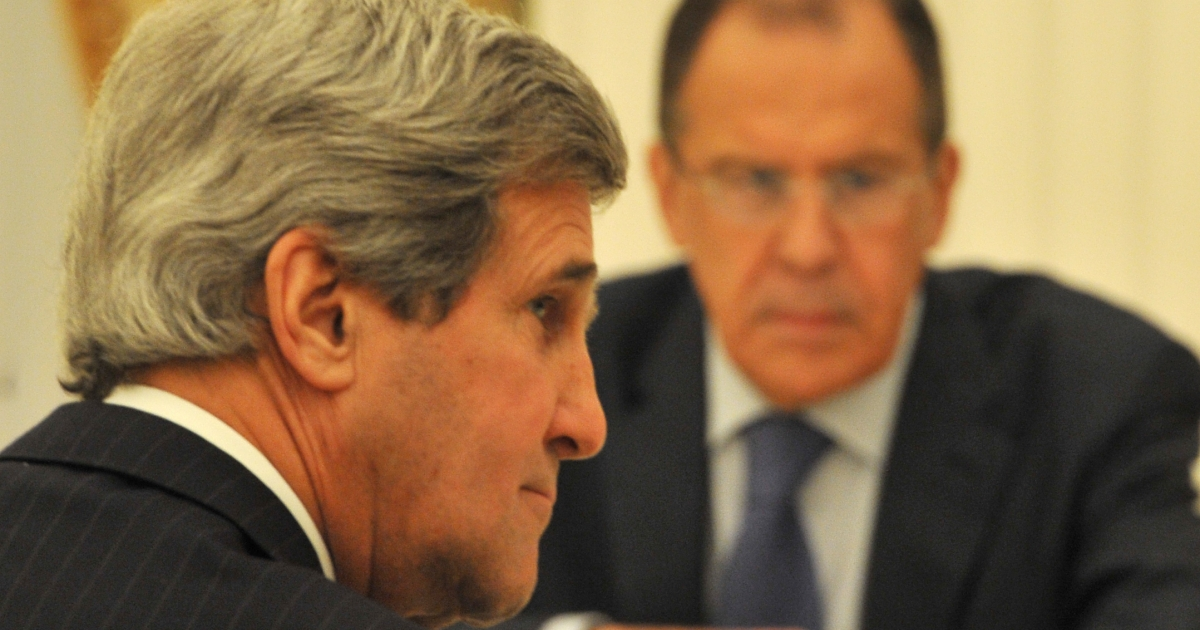 John Kerry (L) and his Russian counterpart Sergei Lavrov. The hurdles on Syria remain high.</p>