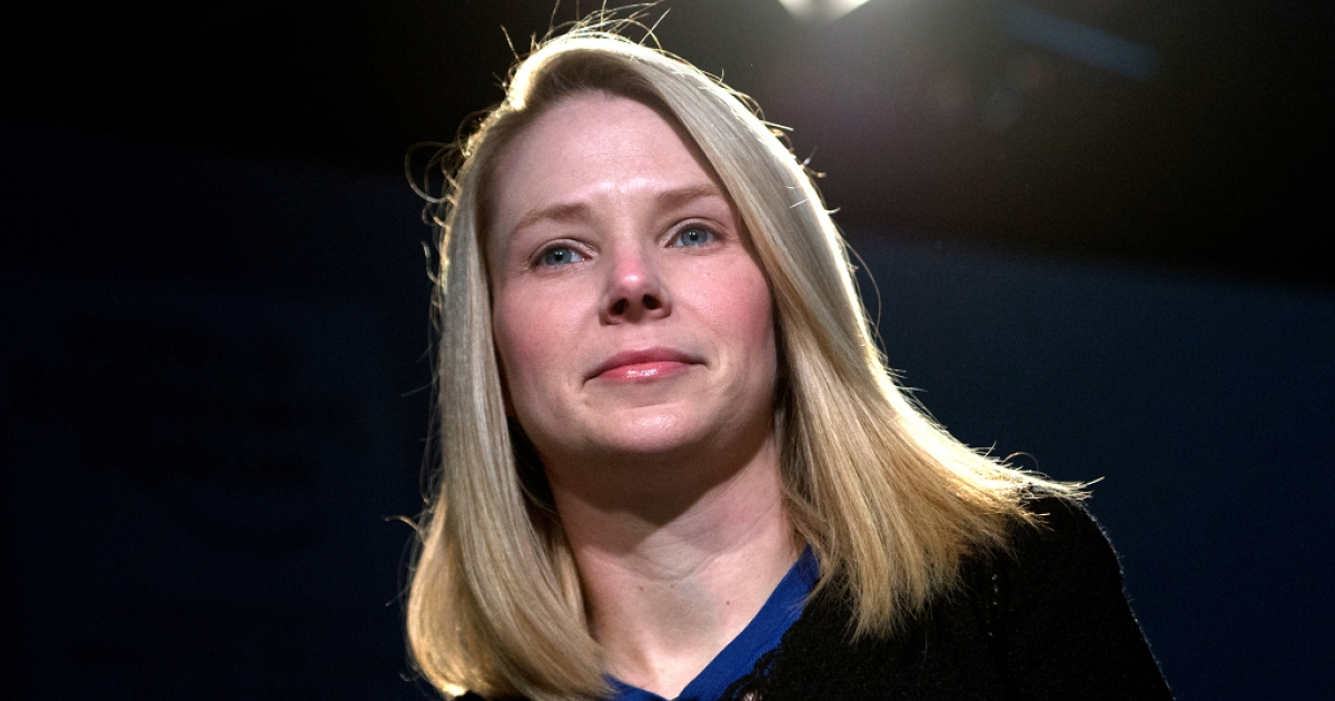 Marissa Mayer, CEO of Yahoo, attends a session of the World Economic Forum 2013 Annual Meeting on Jan. 25, 2013.</p>