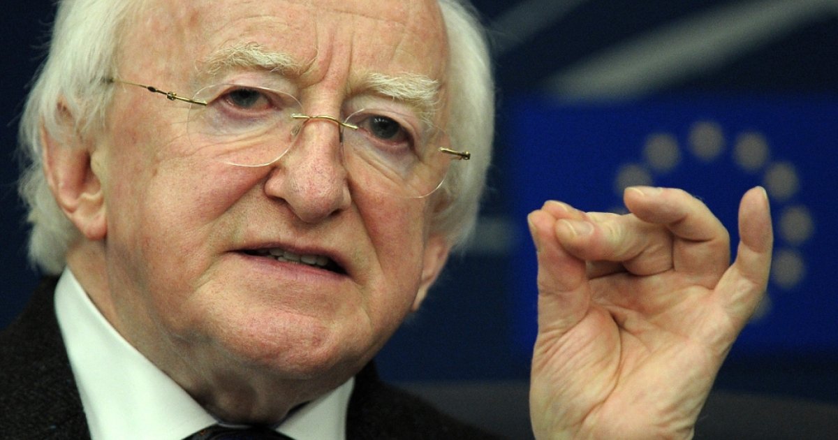 Irish President Michael D. Higgins attends a press conference on April 17, 2013 at the European Parliament in Strasbourg, eastern France.</p>