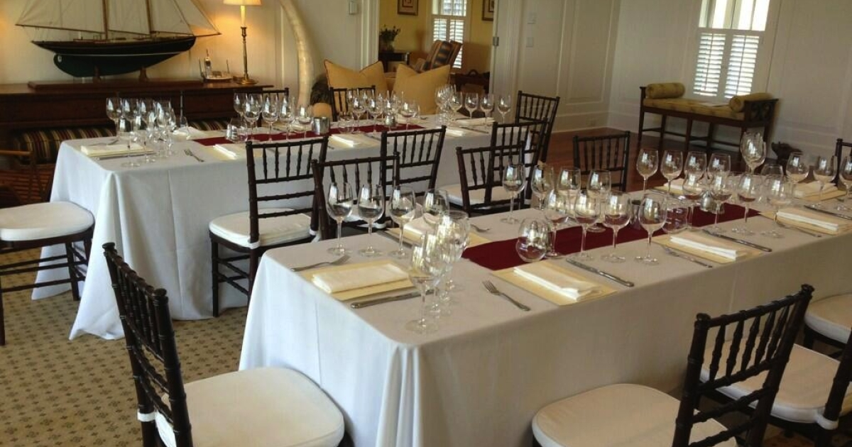 The tables are set at the Chateau Angelus wine dinner. Tickets are $650.00 a plate - but at least the wine is included. (Cathy Huyghe/Twitter)</p>
