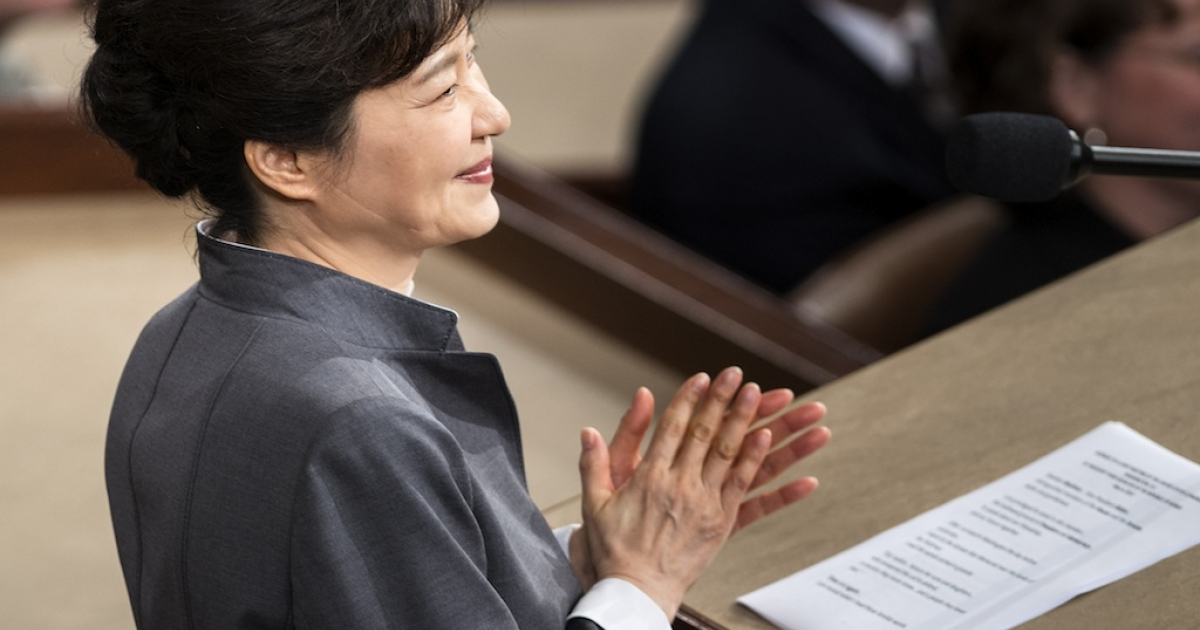 President of South Korea Park Geun-hye claps while addressing a joint meeting of Congress on Capitol Hill May 8, 2013 in Washington, DC. The alleged groping incident occurred during her trip to the US.</p>