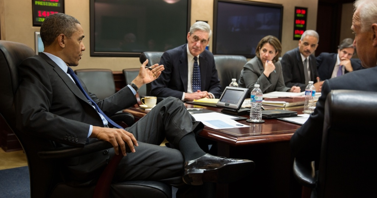 President Barack Obama meets with members of his national security team to discuss developments in the Boston bombings investigation, in the Situation Room of the White House, April 19, 2013. Pictured, from left, are:  FBI Director Robert Mueller; Lisa Monaco, Assistant to the President for Homeland Security and Counterterrorism;  Attorney General Eric Holder; Deputy National Security Advisor Tony Blinken; and Vice Persident Joe Biden.</p>