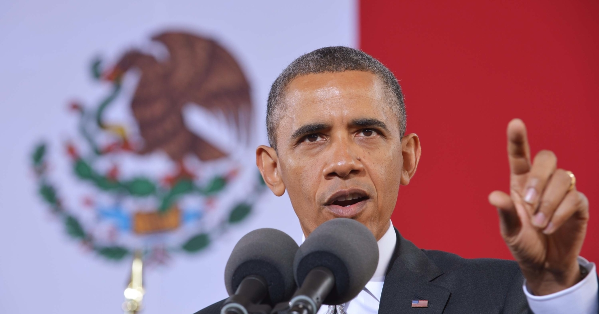 US President Barack Obama speaks on at the National Anthropology Museum on May 3 in Mexico City.</p>