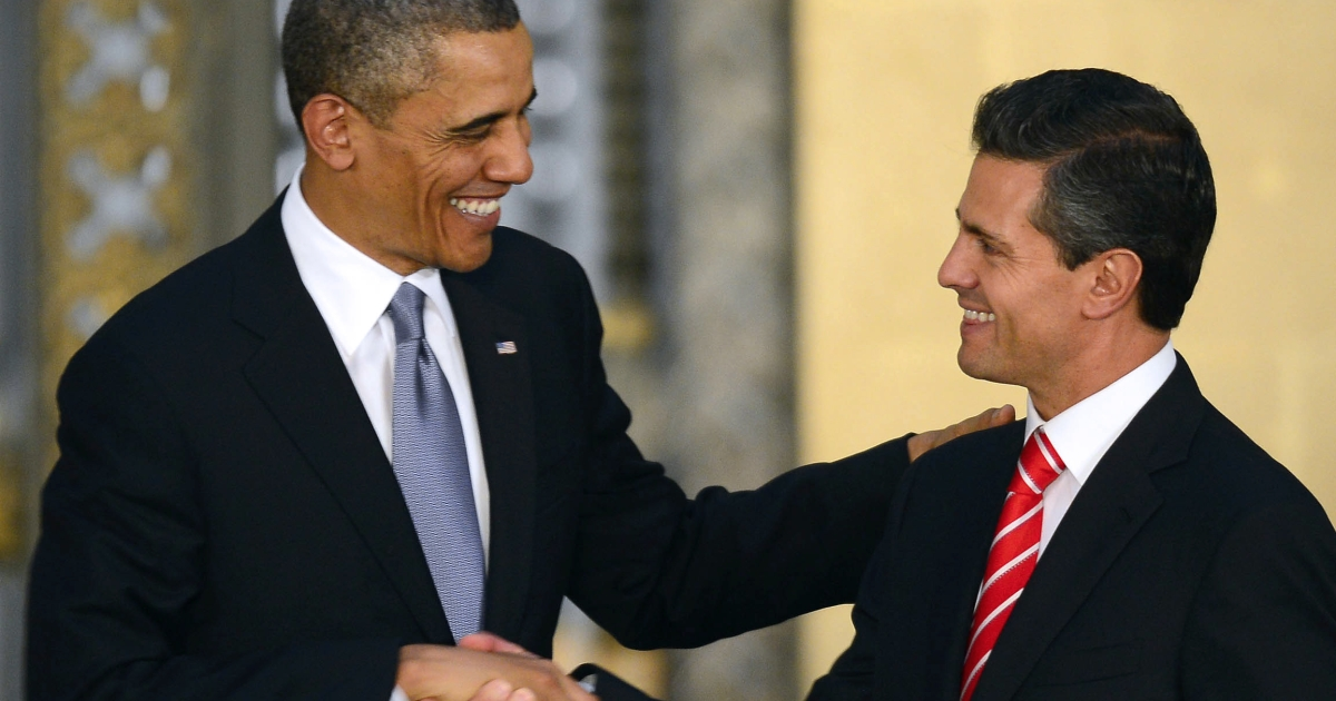 US President Barack Obama and Mexican President Enrique Pena Nieto at a joint press conference at the National Palace in Mexico City on May 2.</p>