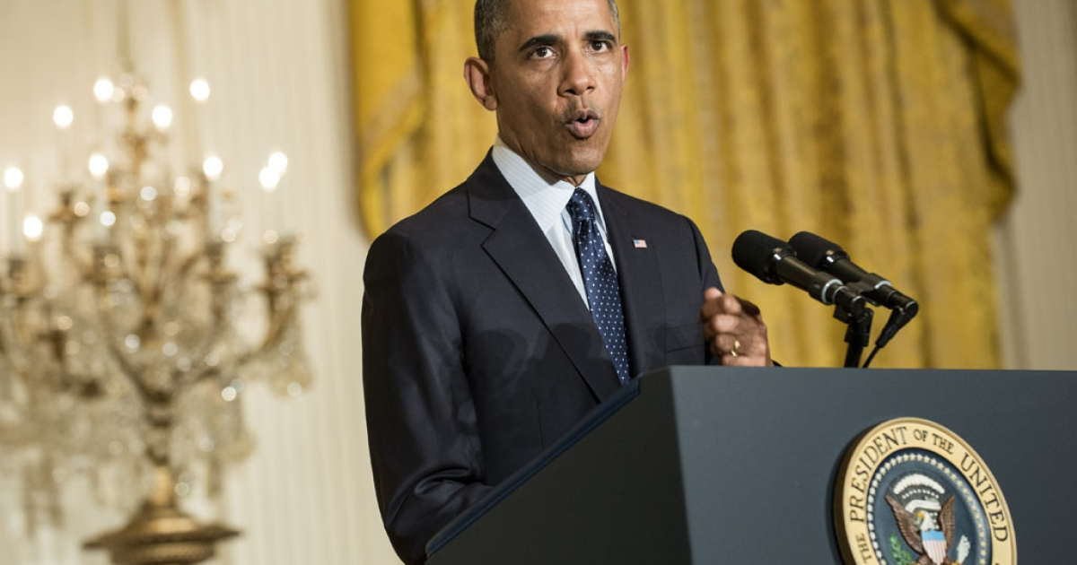 US President Barack Obama speaks to reporters in the East Room of the White House on May 15, 2013, in Washington, DC. Obama spoke about the recent scandal where the Internal Revenue Service is accused of targeting conservative organizations and announced that acting IRS commissioner Steven T. Miller had resigned.</p>