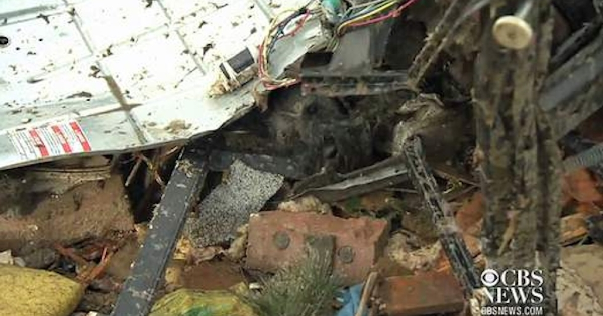 Barbara Garcia's dog, who was lost in the Oklahoma tornado, was spotted in the rubble of her home by a member of a CBS News crew on May 21, 2013.</p>