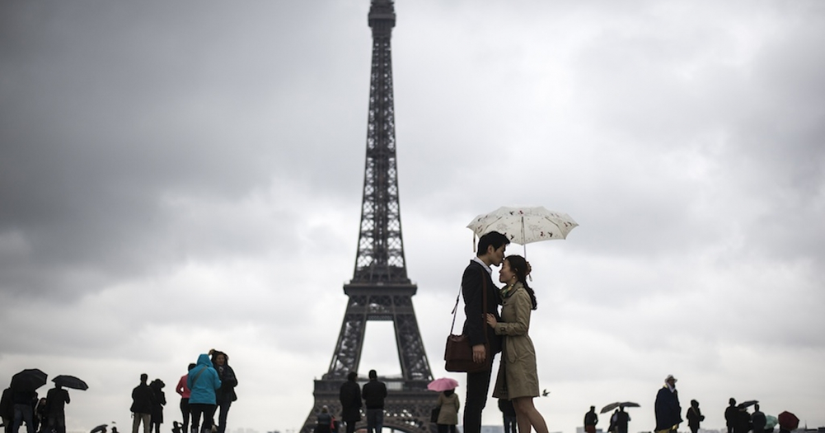 French is the language of love, even on a rainy day.</p>