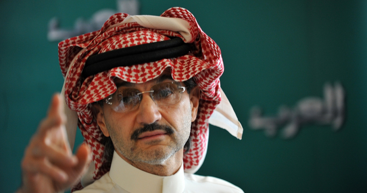 Saudi billionaire owner of Kingdom Holding Company Prince Alwaleed bin Talal gestures during a press conference, on Sep. 13, 2011, in Riyadh.</p>