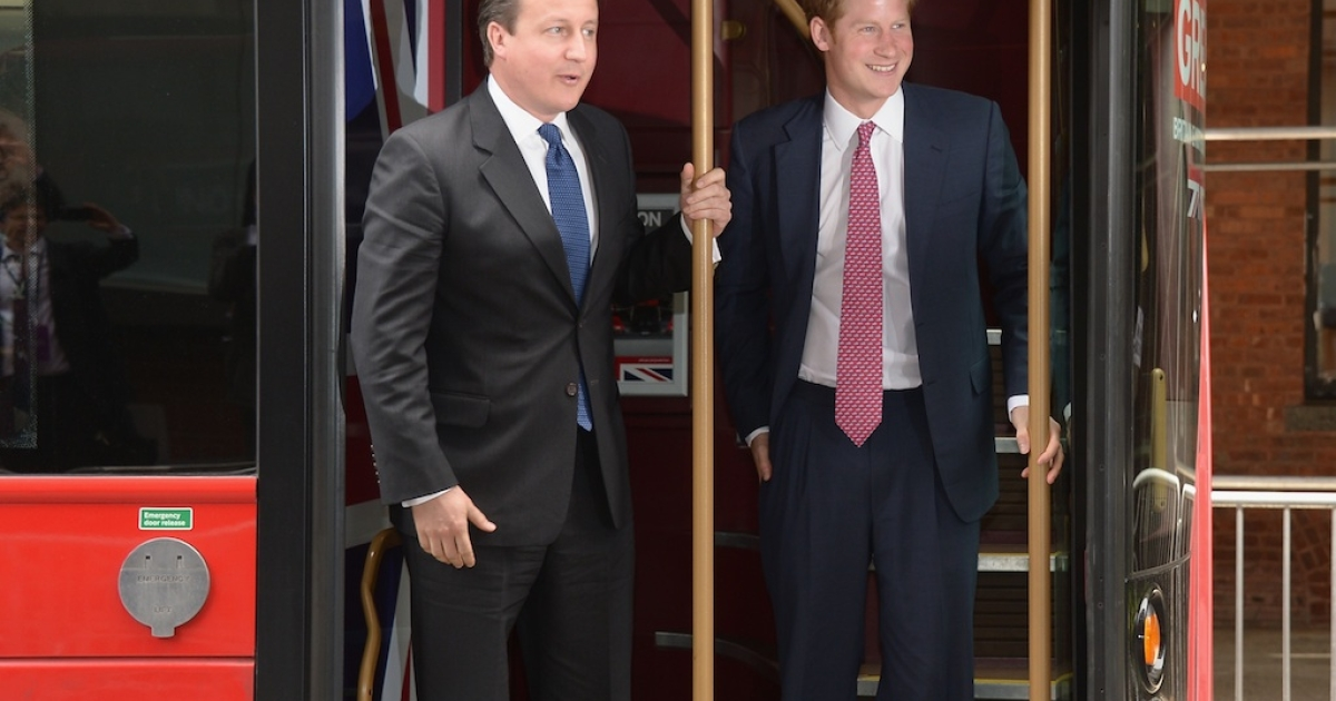 Prime Minister David Cameron and HRH Prince Harry visit Milk Studios in New York City during the fifth day of his visit to the United States at on May 14, 2013.</p>
