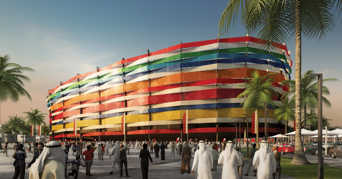 A ground level view is displayed of Al Gharafa stadium, located close to Doha, where the current capacity will double to 44,740 for the FIFA World Cup in 2022, which is going to be held in Qatar. The stadium facade will be made up of the colors of all the countries qualifying for Qatar 2022, symbolizing the friendship, mutual tolerance and respect of the FIFA World Cup and Qatar.</p>