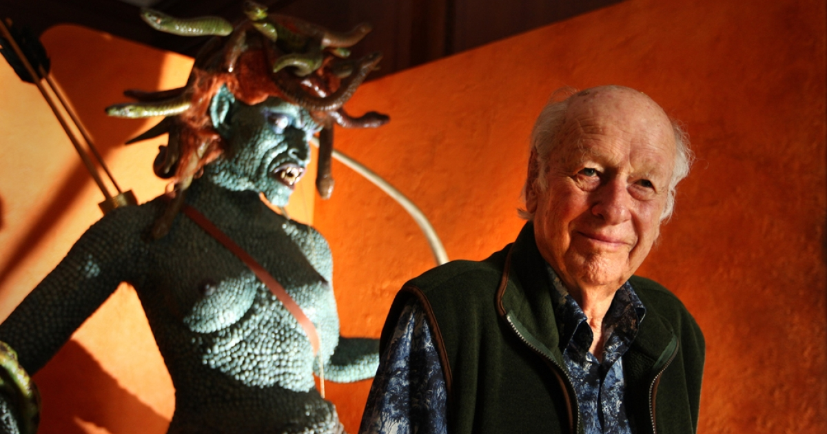 Special-effects pioneer Ray Harryhausen poses with a Medusa from his 1981 film