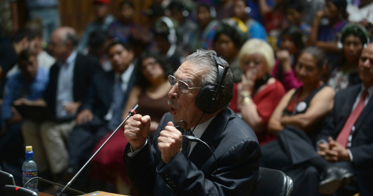 Former Guatemalan dictator (1982-1983) retired Gen. Jose Efrain Rios Montt, 86, denies genocide charges in court May 9.</p>