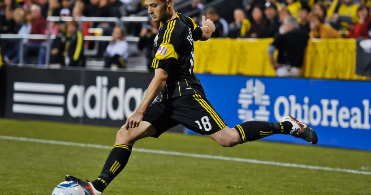 Robbie Rogers controls the ball in 2011 at Crew Stadium in Columbus, Ohio. While playing for Leeds, Rogers in February became the second UK soccer player to come out as gay.</p>