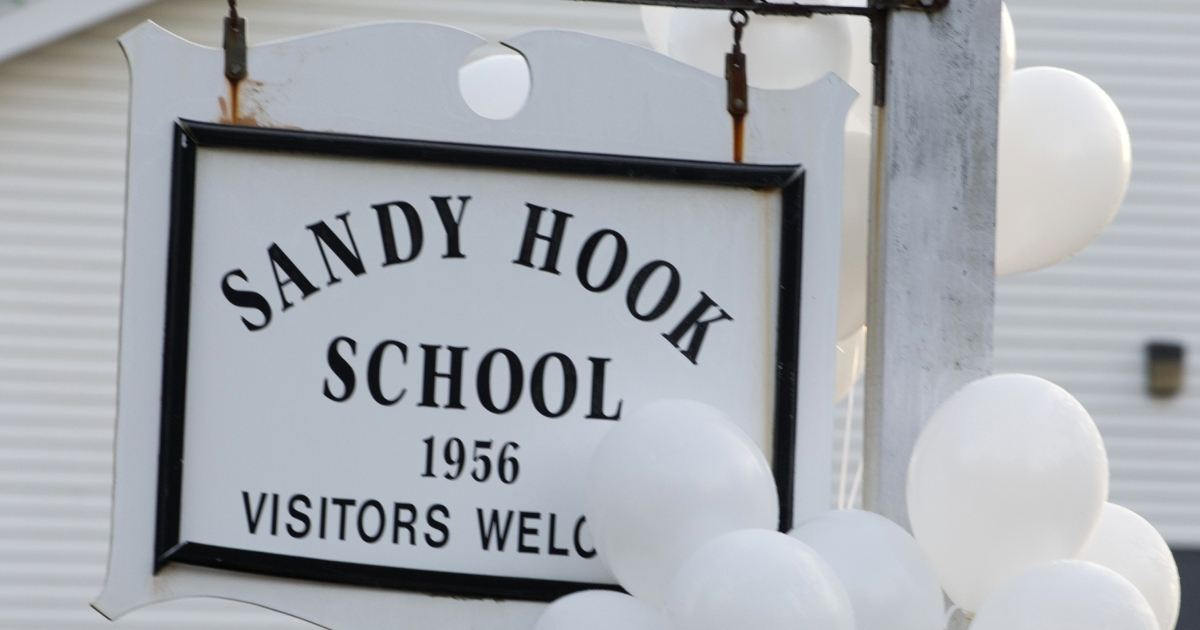 Balloons hang on a sign at the entrance to Sandy Hook School on December 15, 2012 in Newtown, Connecticut. The residents of an idyllic Connecticut town were reeling in horror from the massacre of 20 small children and six adults in one of the worst school shootings in US history. T</p>