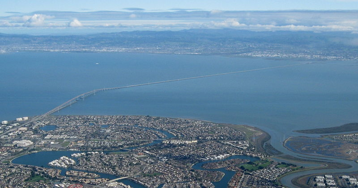 Aerial view of San Mateo-Hayward bridge in California.</p>