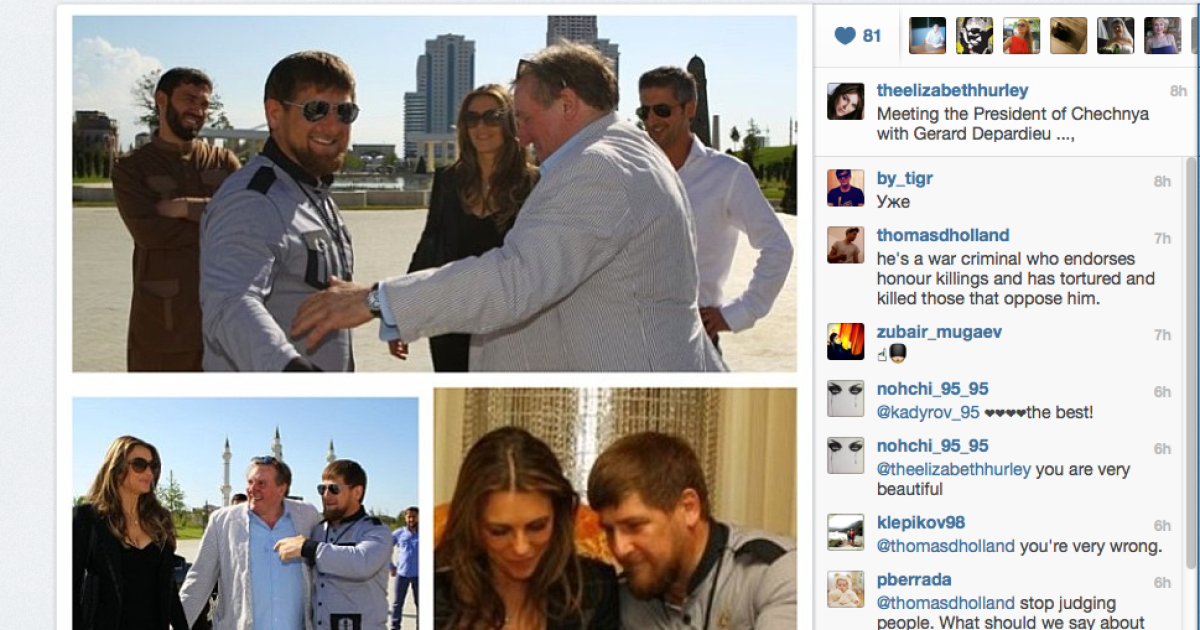 A screengrab from the Instagram page of British actor Elizabeth Hurley, meeting Chechen strongman and accused human rights abuser Ramzan Kadyrov.</p>