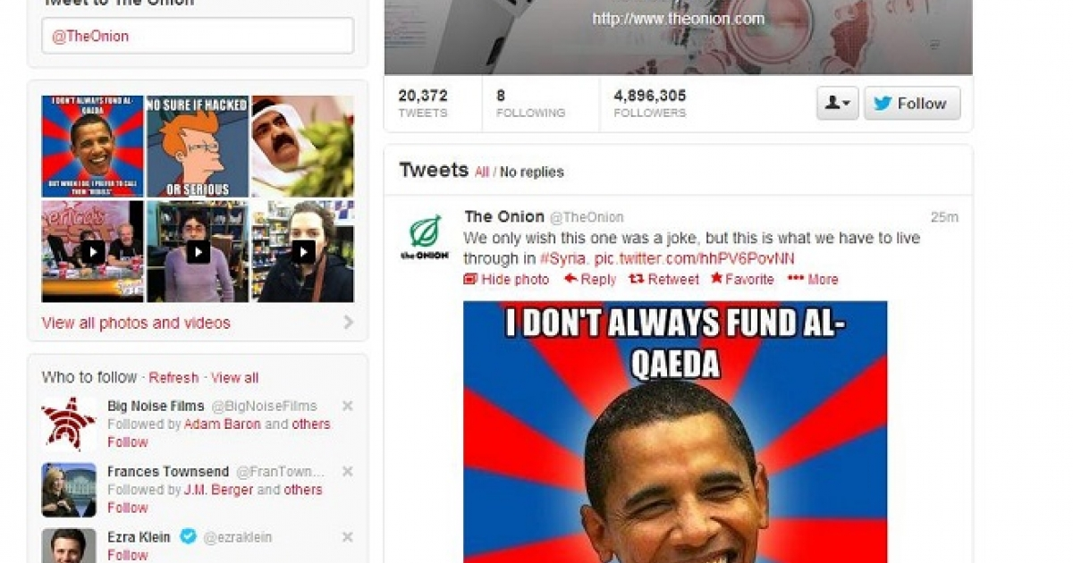 The Onion's Twitter timeline after it was hacked by the Syrian Electronic Army. The photo tweeted by the hackers is a meme style picture featuring the face of President Barack Obama stating,
