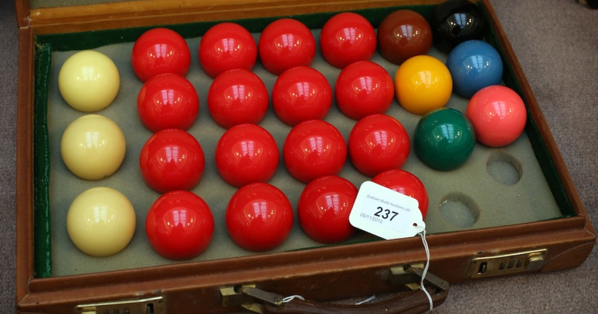 The original set of snooker balls used by Steve Davis when he achieved the first televised 147 break in 1982 is shown on Nov. 6, 2012 in London, England.</p>