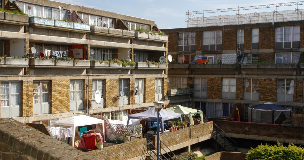 A general view of the Stockwell Park Estate as Deputy Prime Minister, Nick Clegg visits on April 25, 2013 in in London.</p>