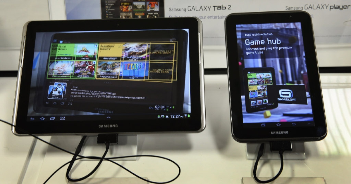 Samsung Galaxy tablets are offered for sale at a Tiger Direct store on April 11, 2013 in Chicago. Chinese shoppers in the next 12 months will use mobile devices to shop at double the rate of anyone else, according to the latest PricewaterhouseCoopers (PWC) survey.</p>