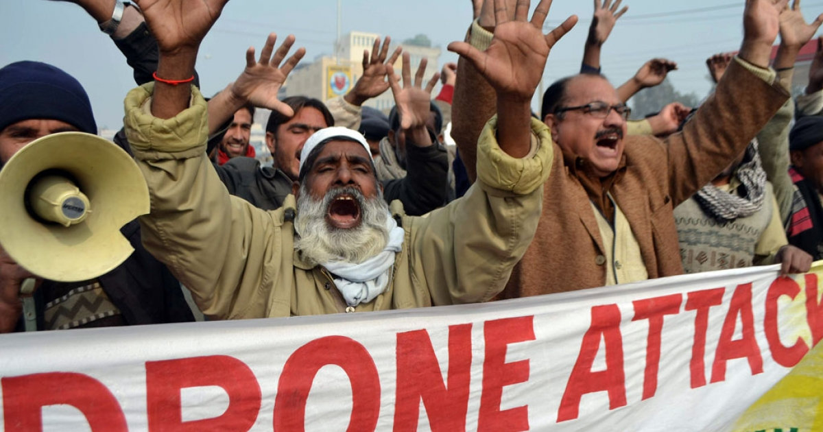 Pakistani demonstrators shout anti-US slogans during a protest in Multan in January 2013, against the drone attacks in Pakistan's tribal areas. A suspected US drone strike killed seven in northwestern Pakistan on June 7, 2013.</p>
