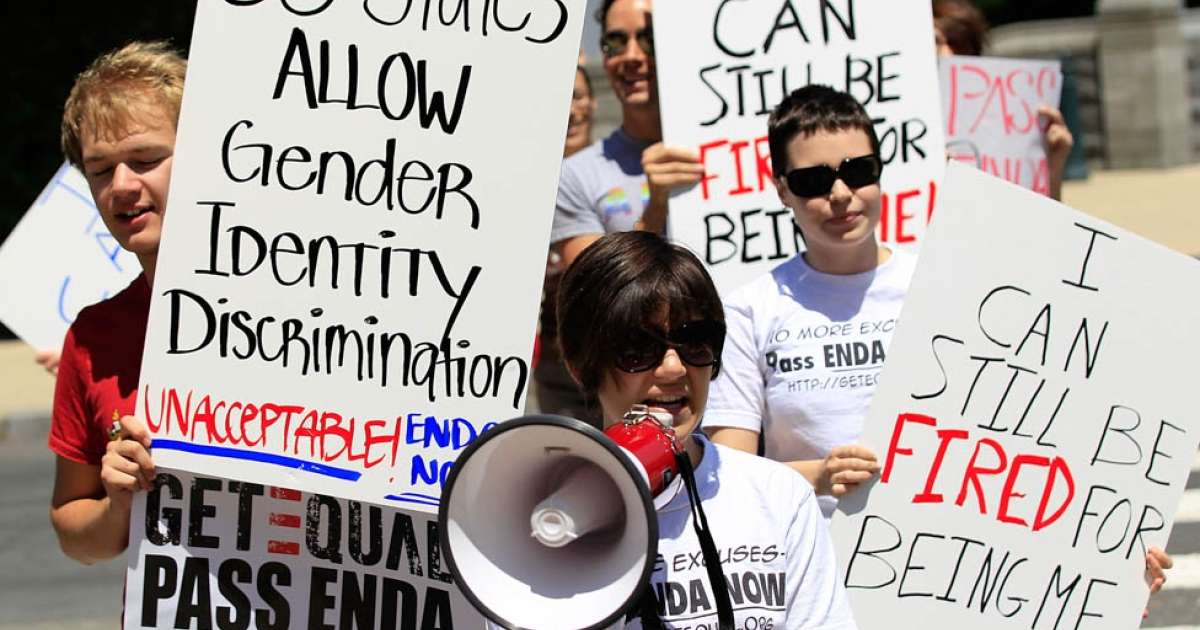 Members of GetEQUAL, a lesbian, gay, bisexual and transgender organization, stage a protested on Capitol Hill on May 20, 2010 in Washington, DC, calling on congressional leaders to schedule a vote for the Employment Non-Discrimination Act (ENDA), which was passed by the Senate yesterday.</p>