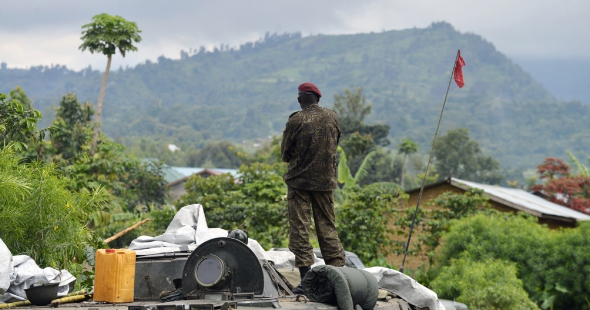 A Democratic Republic of Congo soldier in Rutshuru on November 4, 2013, after the army recaptured the area from M23 rebels. On November 5, the rebels declared that they would ended their armed insurgency after 20 months of conflict in eastern Congo.</p>