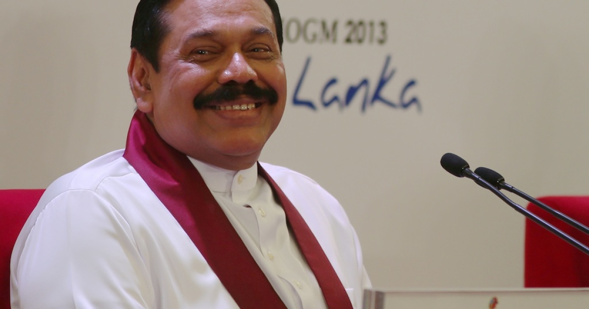 Sri Lankan President Mhainda Rajapaksa smiles during the pre-Commonwealth Heads of Government Meeting press conference at Bandaranaike Memorial International Conference Hall on November 14, 2013 in Colombo, Sri Lanka.</p>