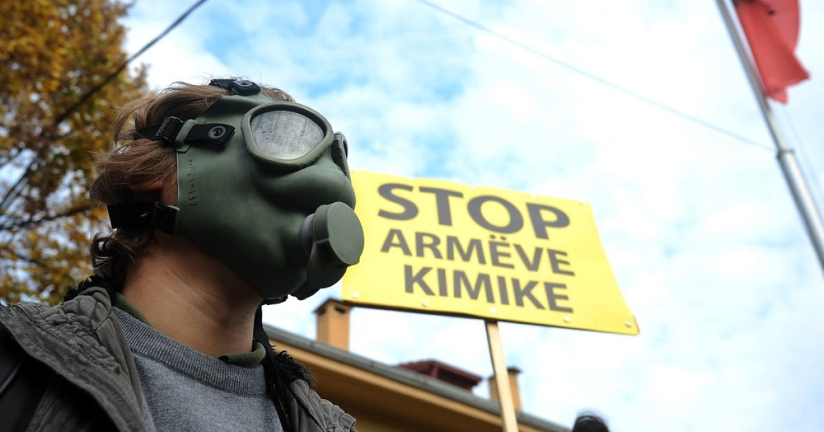 Demonstrators in Skopje call on Albania's government not to allow Syria's chemical weapons to be taken there for destruction, November 14, 2013. Since Albania said no, no other country has offered to take the stockpile in.</p>
