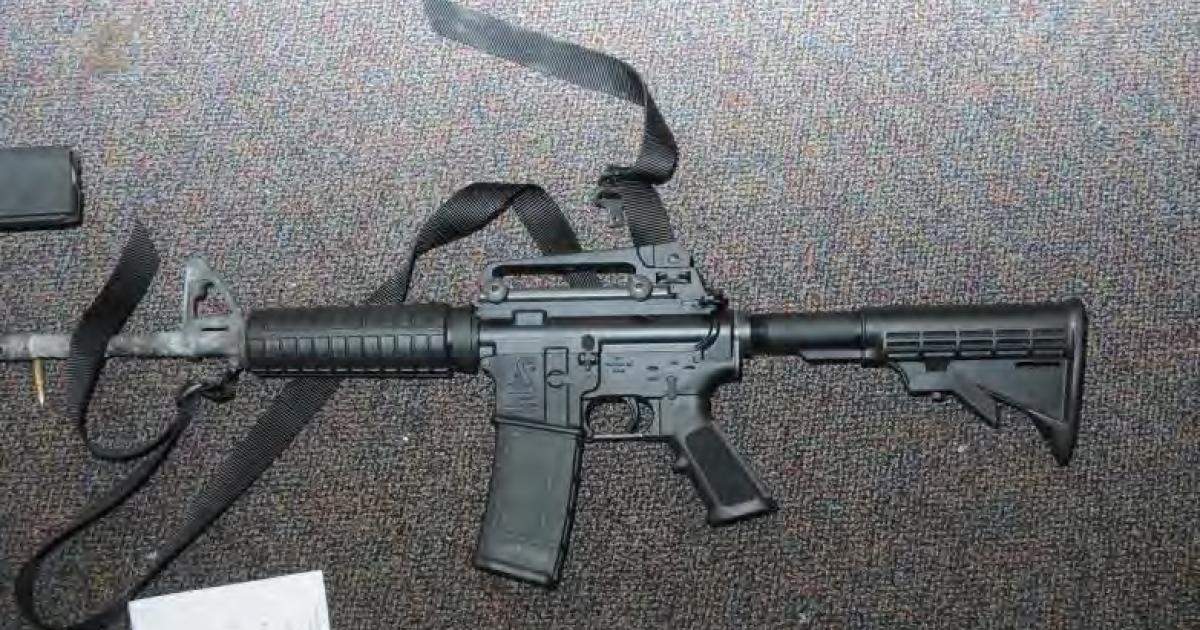 In this handout crime scene evidence photo provided by the Connecticut State Police, shows a Bushmaster rifle in Room 10 at Sandy Hook Elementary School following the December 14, 2012 shooting rampage, taken on an unspecified date in Newtown, Connecticut .</p>