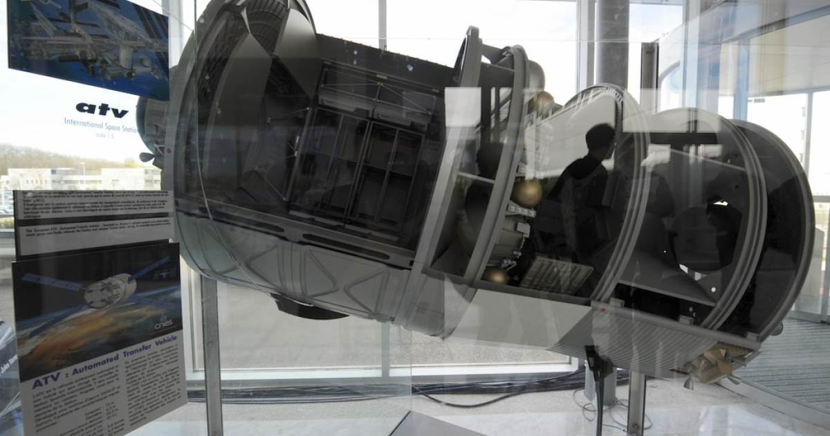 This photo taken April 3, 2008 shows a model of the Automated Transfer Vehicle (ATV) at the National Centre for Space Studies (CNES) in Toulouse, in southwestern France.</p>
