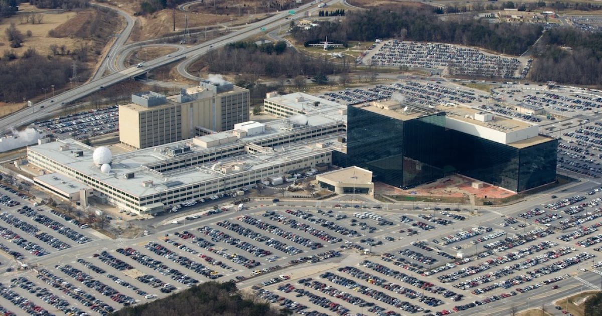 The National Security Agency (NSA) headquarters at Fort Meade, Maryland, as seen from the air, January 29, 2010.</p>