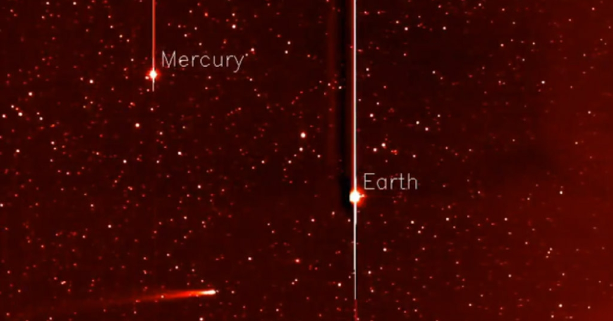 A screengrab from a video shot by NASA's STEREO spacecraft showing Comet ISON as it streaks toward its Thanksgiving Day encounter with the sun -- one it may not survive.</p>