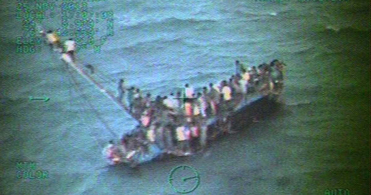 This handout image provided by the US Coast Guard shows about 100 Haitian migrants sitting on the hull of their sailboat on Tuesday, a day after it ran aground and capsized near Staniel Cay in the central Bahamas.</p>