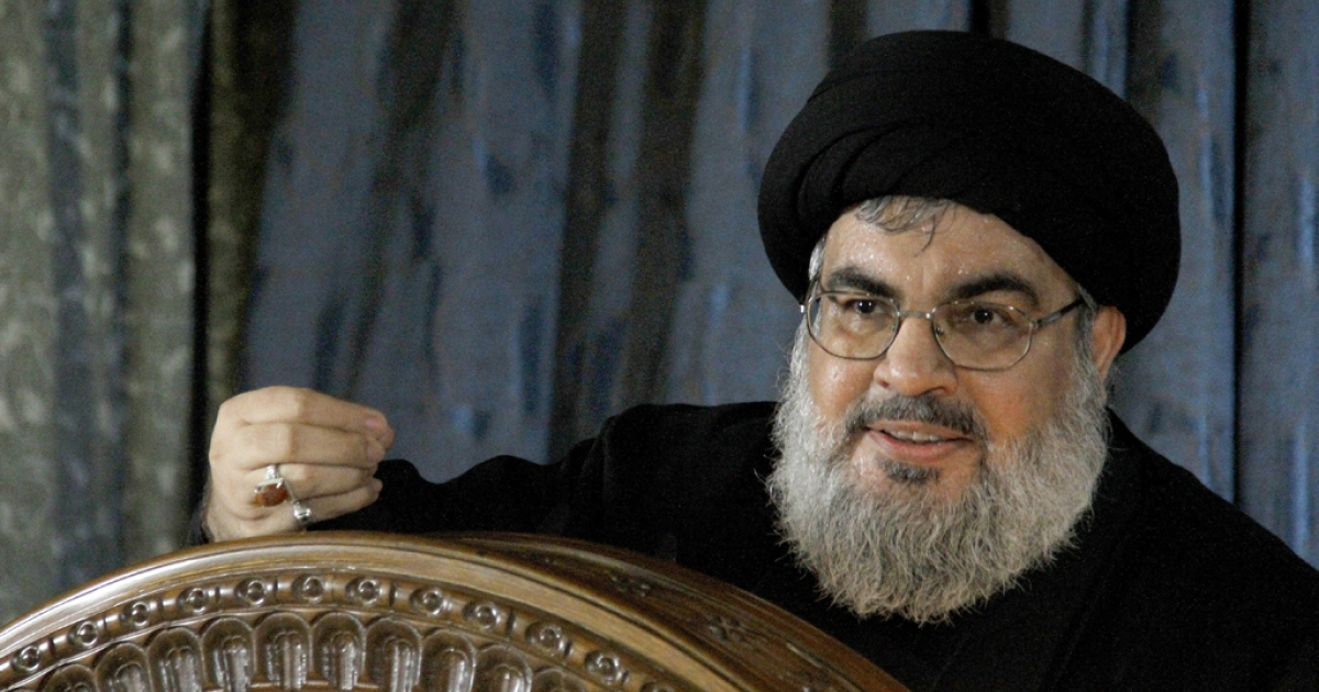 Hassan Nasrallah, the head of Hezbollah, speaks during a rare live appearance from the Beirut suburb of Rweiss in Lebanon on November 13, 2013. Nasrallah argued that failure to strike a deal with ally Iran over its nuclear program would spell