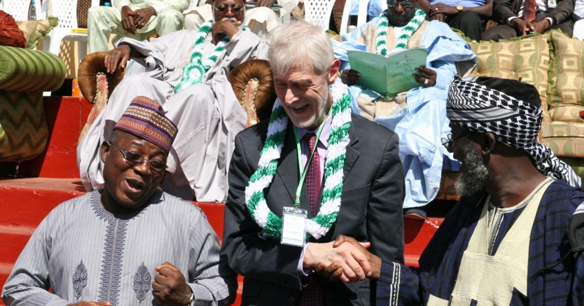 Pastor James Wuye (L) and Imam Muhammad Ashafa (R) with conference organizer Padraig OMalley (C) in Kaduna, Nigeria.</p>