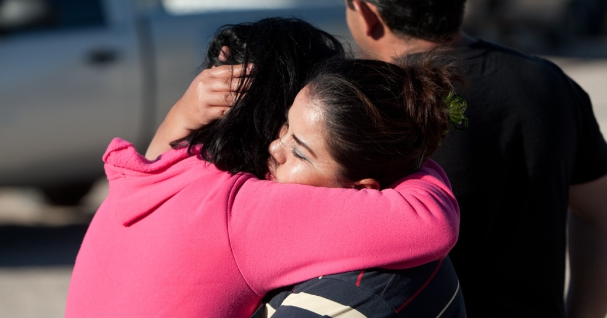 Relatives of eight family members killed in Ciudad Juarez, Mexico.</p>