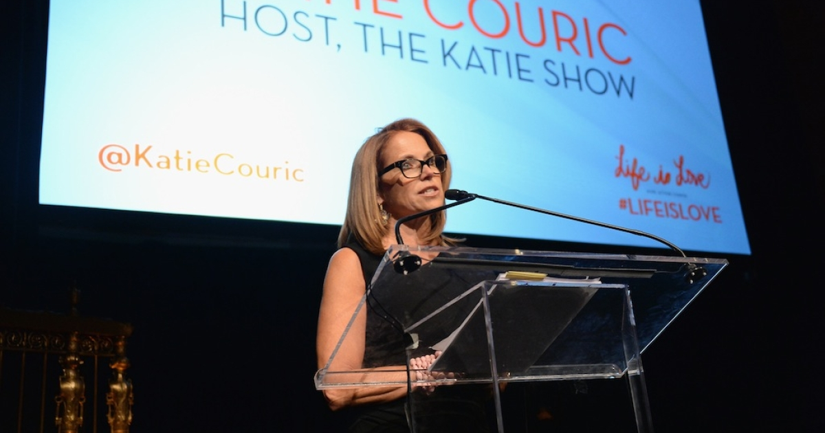 Katie Couric speaks at the Somaly Mam Foundation Gala 'Life Is Love' on Oct. 23, 2013 in New York City.</p>