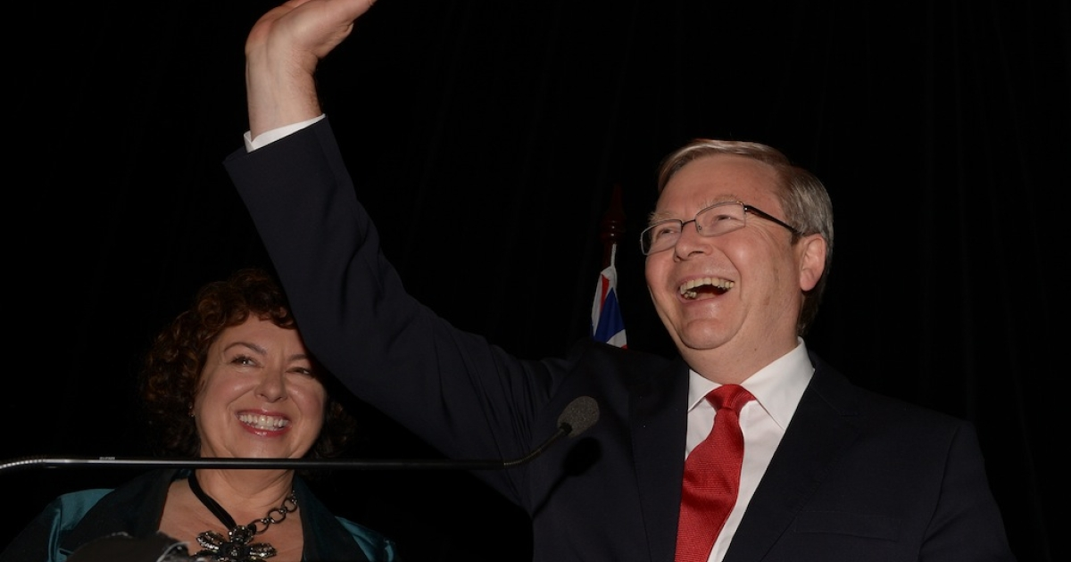 Former Australian Prime Minister Kevin Rudd waves to supporters after conceding defeat in the general election on Sept. 7, 2013.</p>